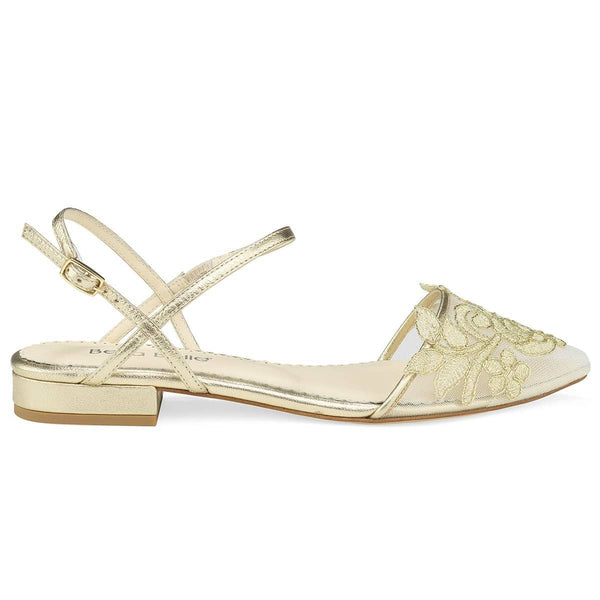 Gold Flower Embroidered Lace Wedding Flat Shirley Bella Belle