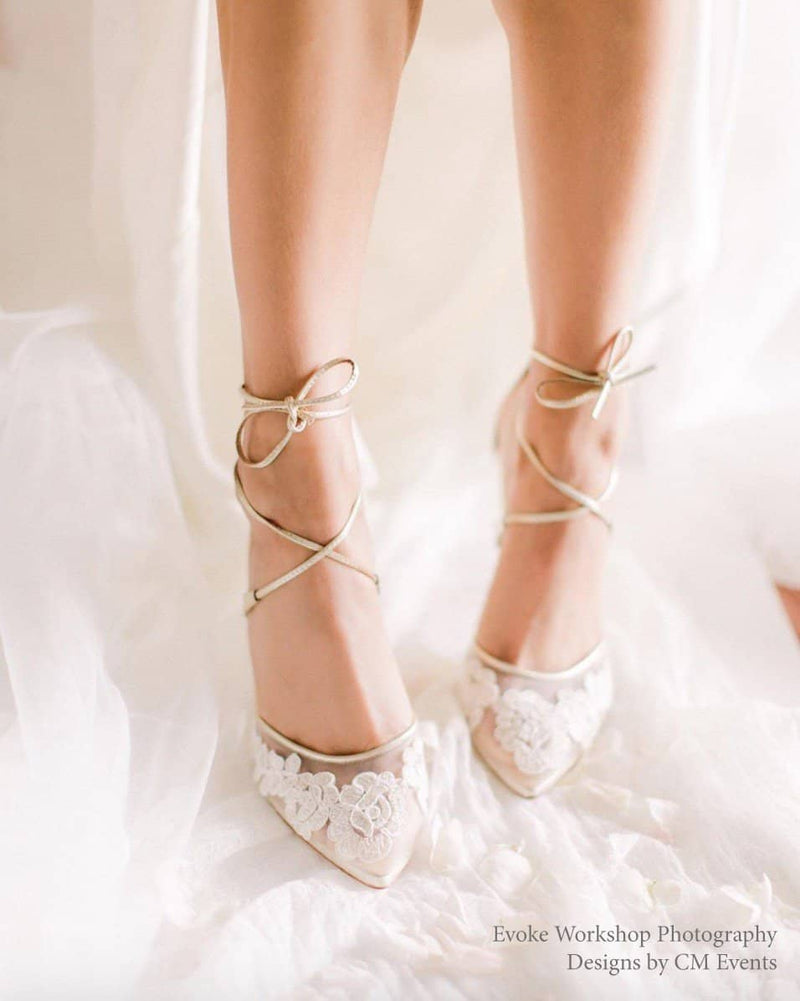 comfortable gold lace wedding and evening shoes ankle-tie