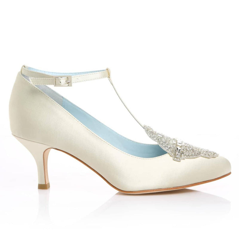 Annalise low heel ivory wedding shoe