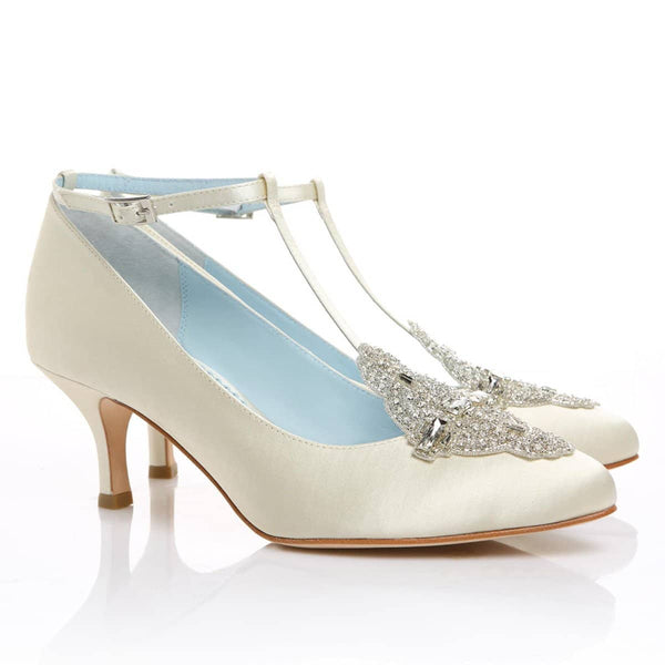 comfortable ivory wedding shoe low heel vintage inspired crystal embellished silk satin kitten something blue