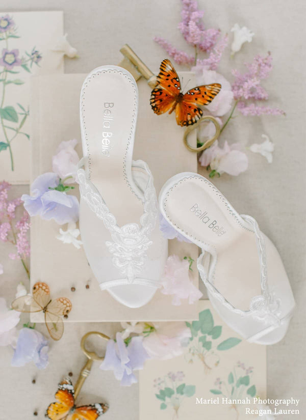 Bella Belle Natalie Ivory Floral Embroidery Mule Wedding Shoe