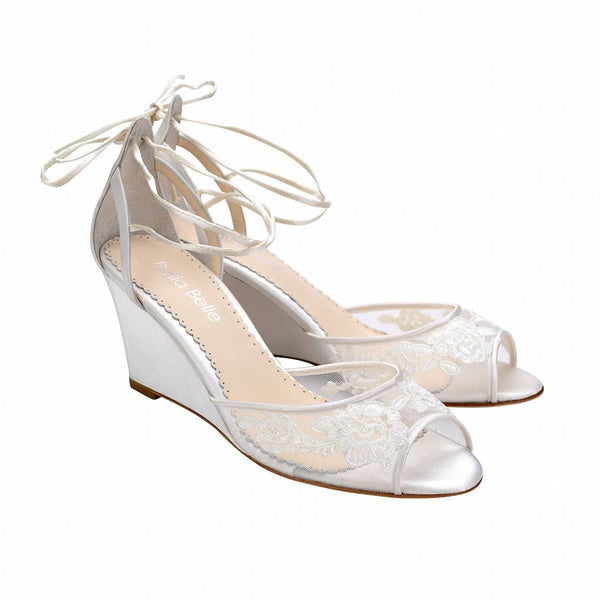 Bella Belle Pamela Ivory Floral Lace Wedge Wedding Shoe