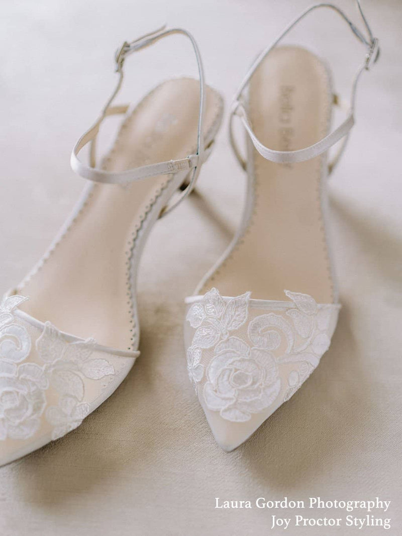 Ivory Flower Embroidered Lace Wedding Kitten Heel Serena Bella Belle