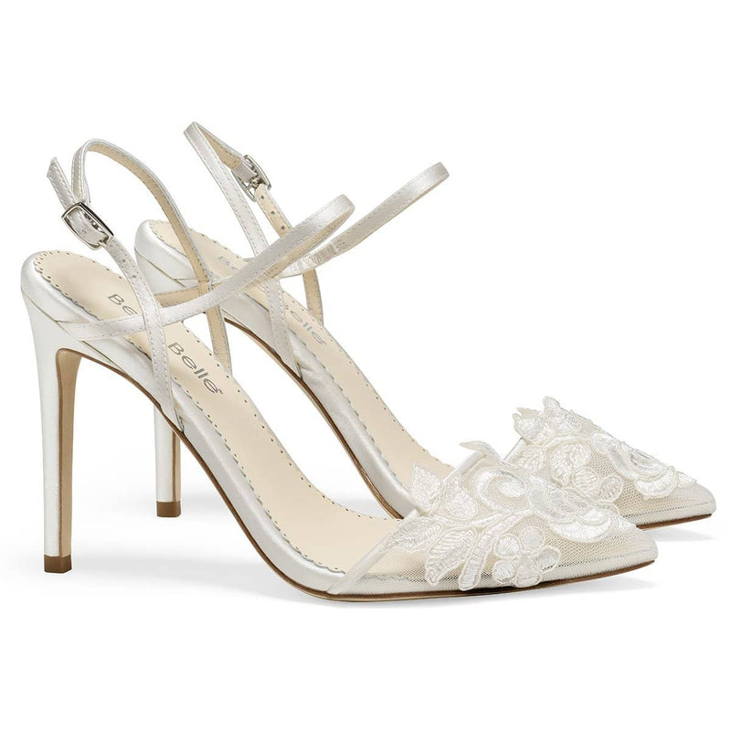 Ivory Flower Embroidered Lace Wedding Heel - Sylvia Ivory Bella Belle