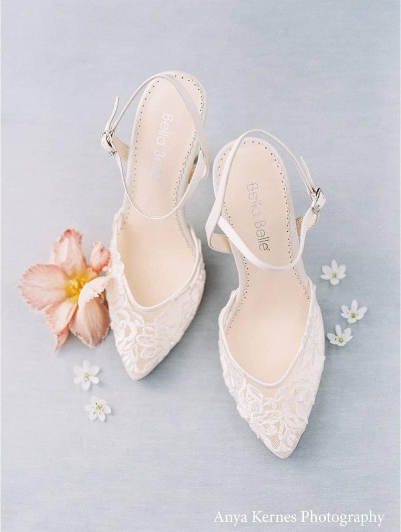 Ivory Lace and Pearl Wedding Kitten Heel - Mina Ivory