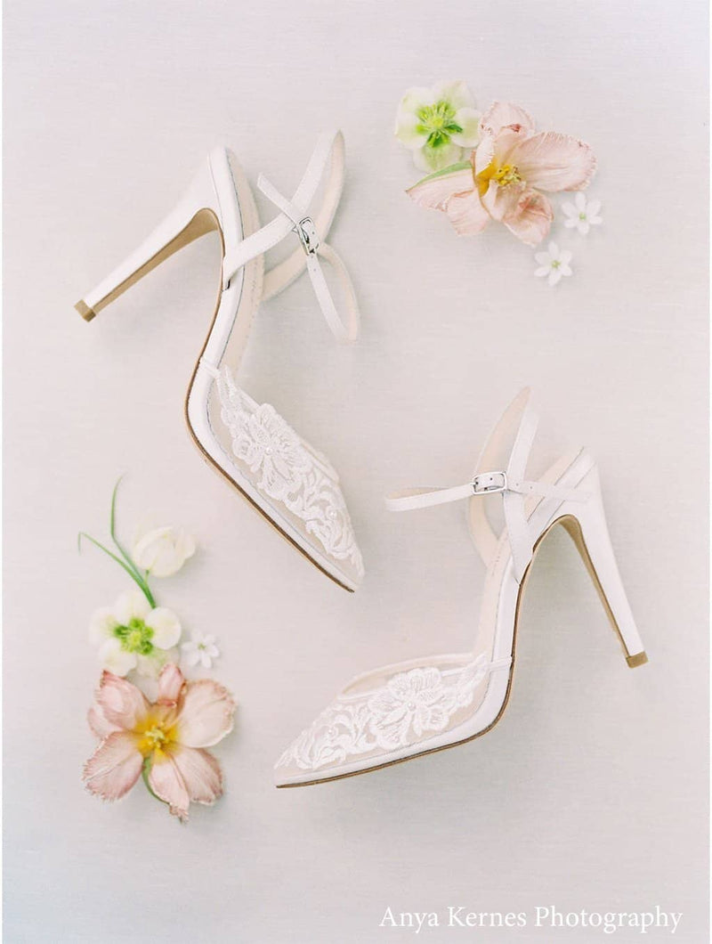 Ivory Lace and Pearl Wedding Heel - Maya Ivory Bella Belle