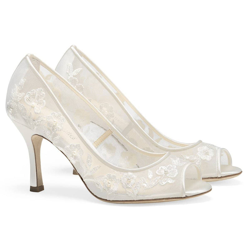 Ivory Peep Toe Embroidered Lace Pump Emily Bella Belle