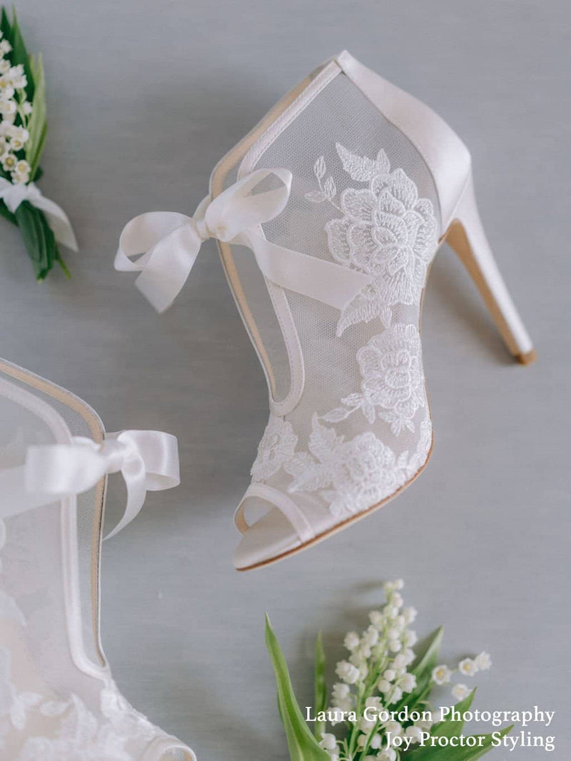 Ivory Ribbon Tie Lace Embroidered Bootie Nikki Bella Belle