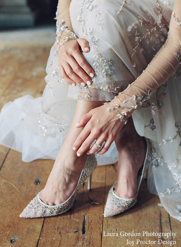 Bella Belle Evelyn Ivory Sequin Low Heel Wedding Shoes