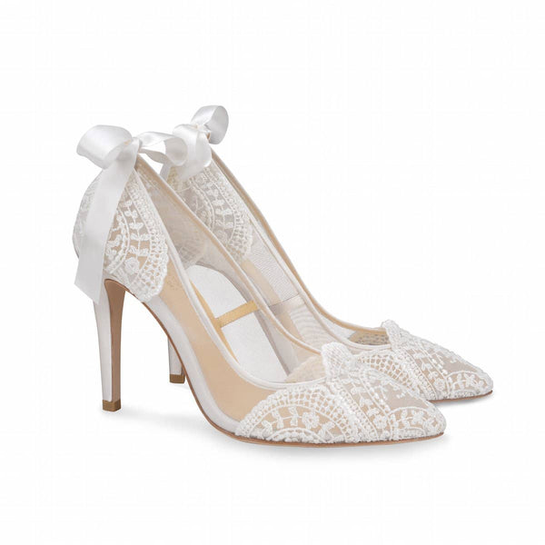 Ivory Wedding Pump with Silk Ribbon and French Embroidery - Giselle By Claire Pettibone