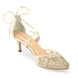 Bella Belle Frances Champagne Jewel Low Heel Evening Shoes
