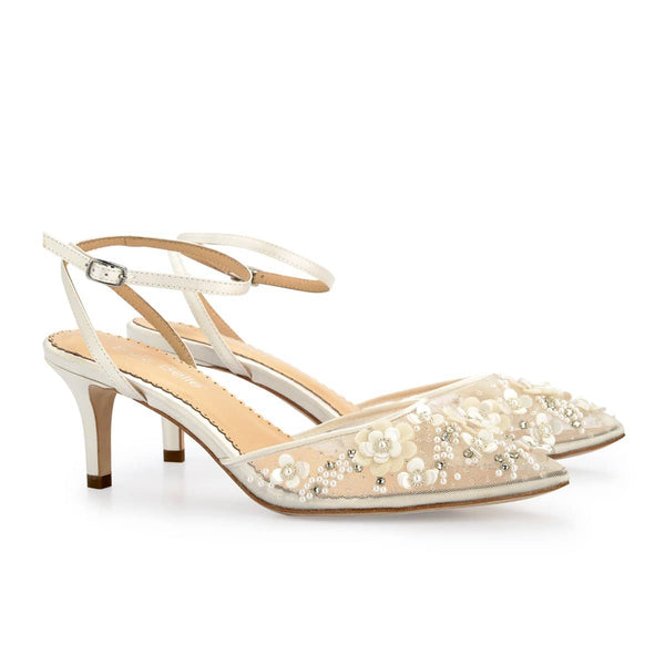 Bella Belle Rosa Kitten Heel Ivory Pearl Wedding Shoes