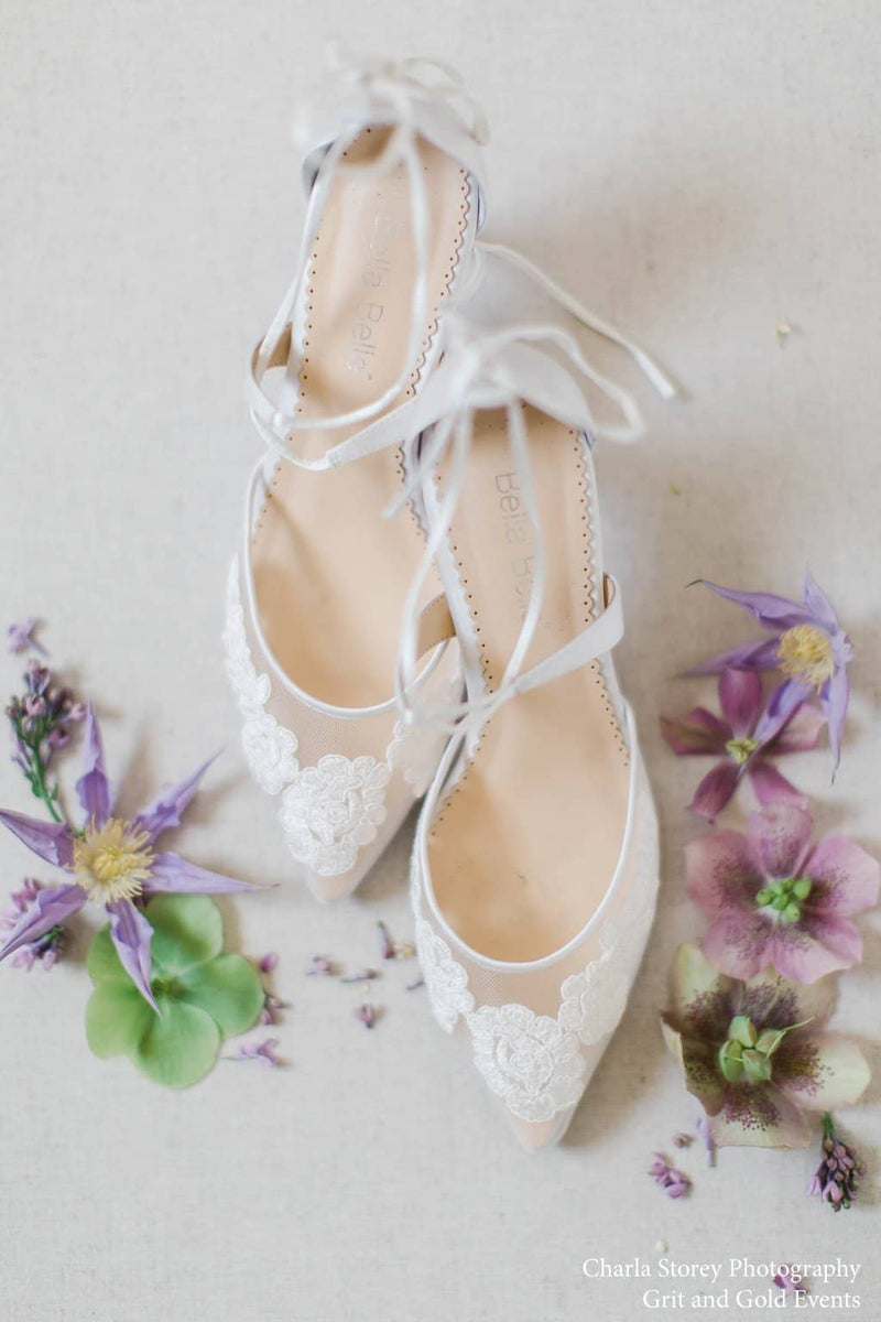 Bella Belle Amelia Kitten Heel Lace Wedding Shoes