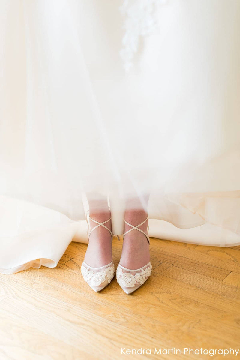Floral Lace Ivory Kitten Heel Shoes - Wedding
