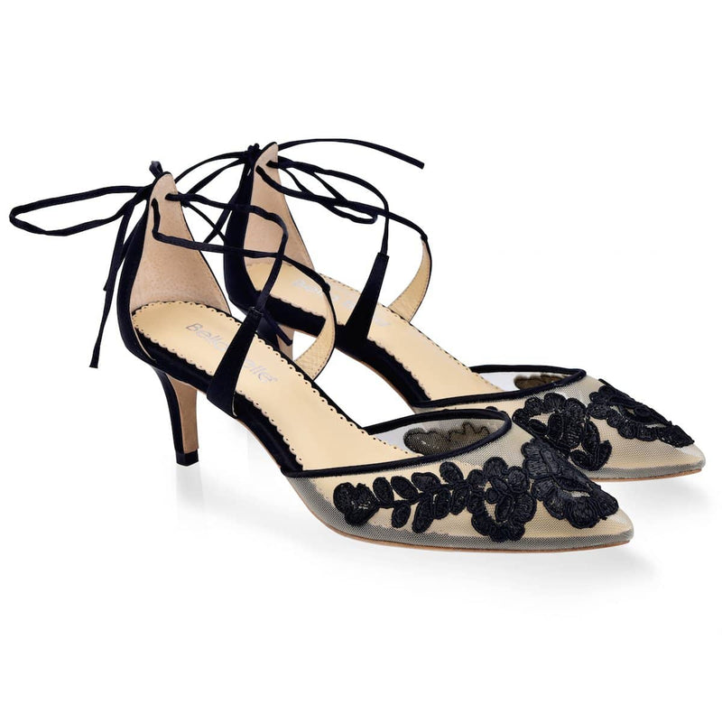Bella Belle Amelia Kitten Lace Black Evening Shoe