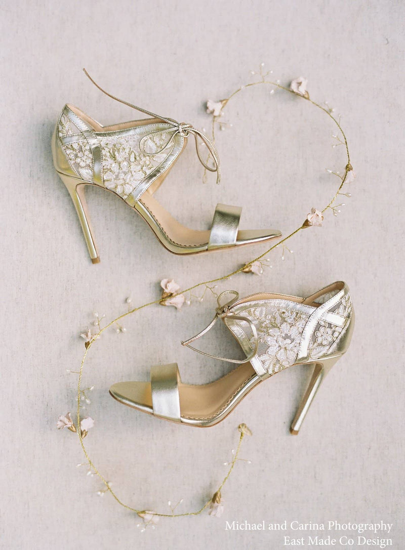 Bella Belle Grace Lace Gold Evening Shoes