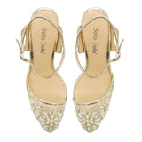 Bella Belle Madeline Low Heel Lace Gold Dress Shoes