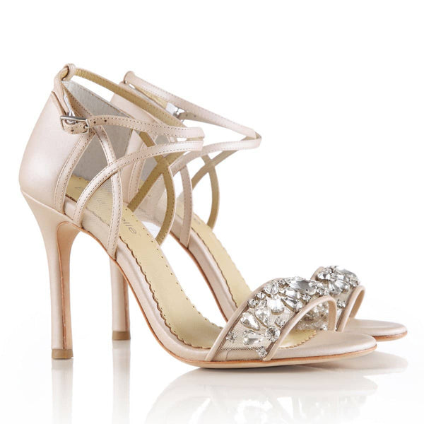 bridal shoes comfortable nude crystal strappy heels