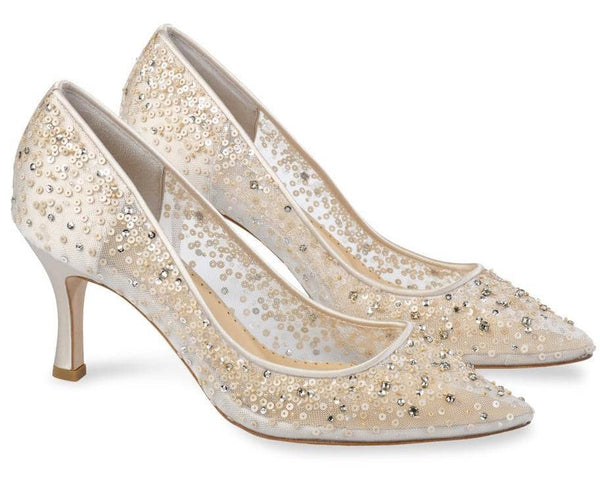 Bella Belle Evelyn Nude Sequin Low Heel Wedding Shoes
