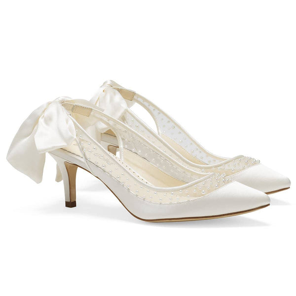 Ivory Pearl Slingback Wedding Kitten Heel with Silk Bow Georgia Bella Belle