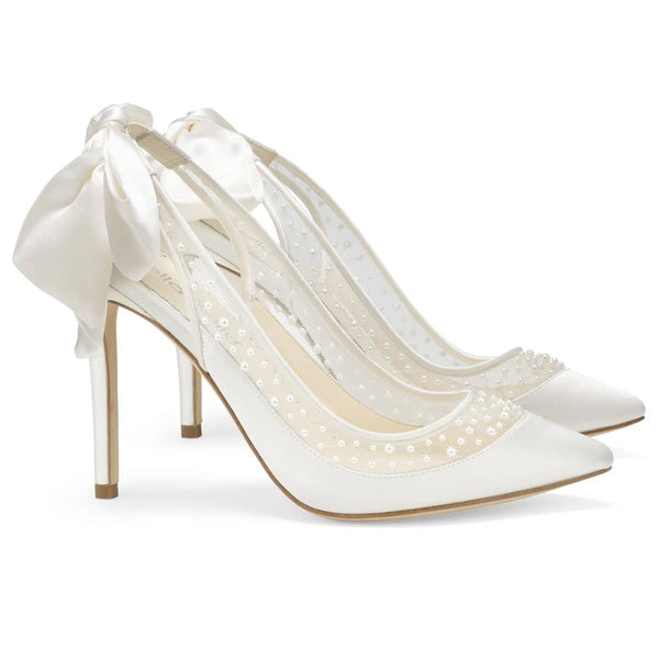 Ivory Pearl Slingback Wedding Heel with Silk Bow Gabrielle Bella Belle
