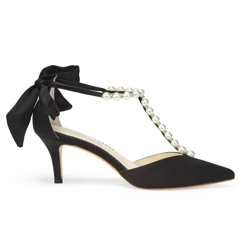 bella belle lisa black Pearls And Crystal Black Bow Kitten Heel