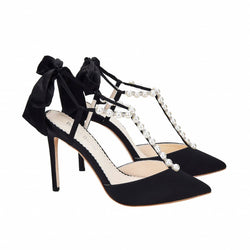 Bella Belle Lisbeth Pearl and Crystal Black Silk Bow Evening Heel