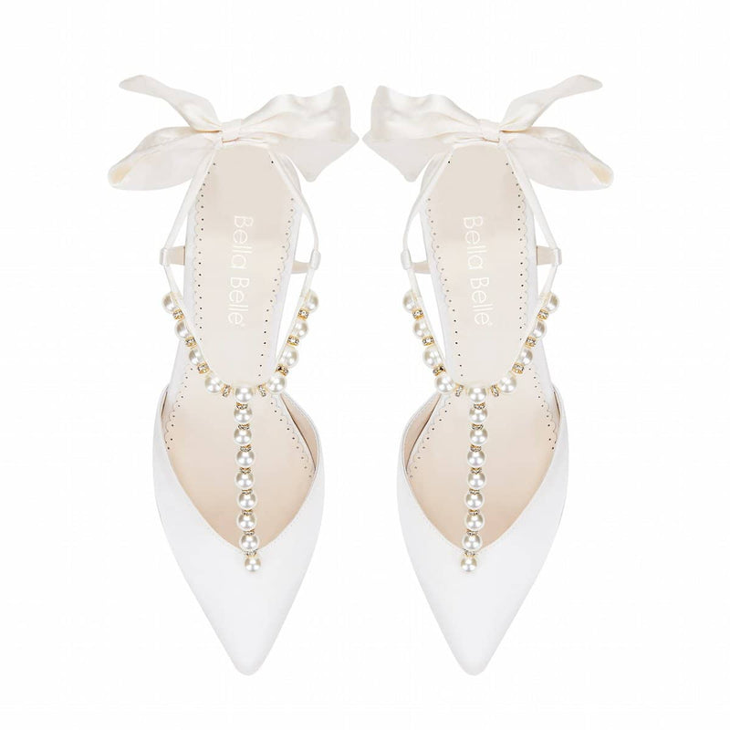 bella belle lucia Pearl and Crystal Ivory Silk Bow Kitten Heel