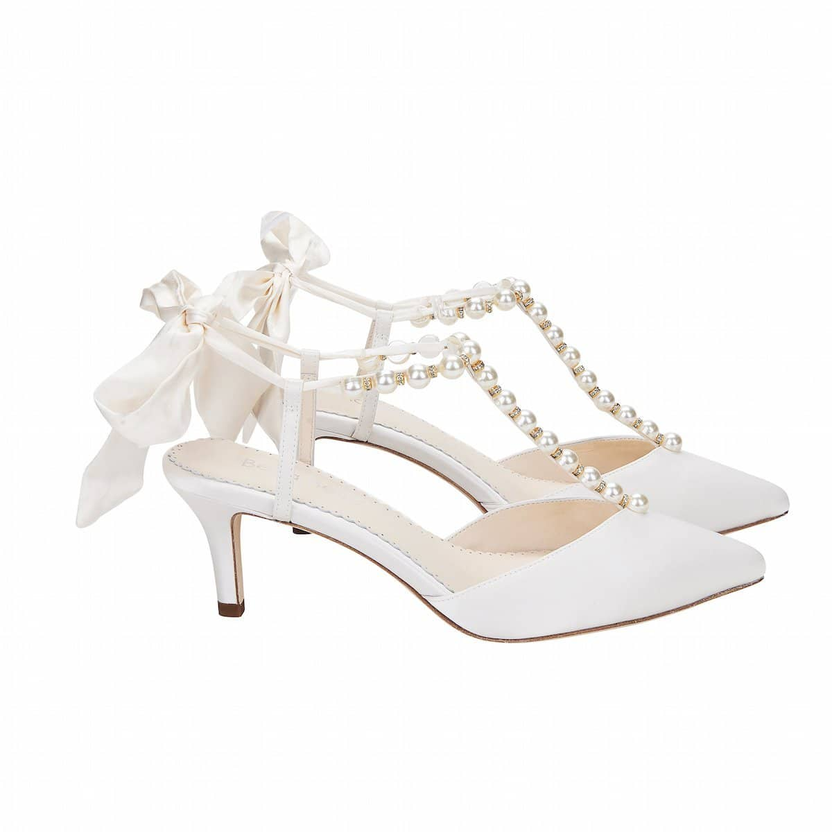 Lucia Ivory Pearl Bridal Shoes Mid Heel Wedding Shoes Bella Belle Shoes
