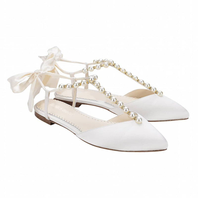 bella belle lulu Pearl and Crystal Ivory Silk Bow Wedding Flats