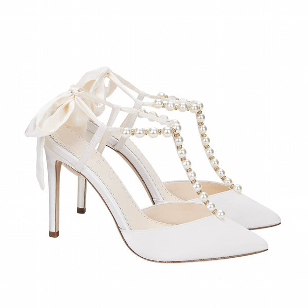 Bella Belle Lisbeth Pearl and Crystal Ivory Silk Bow Wedding Heel