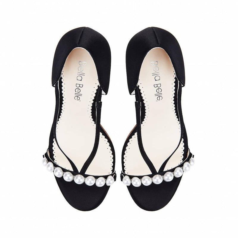 bella belle pearlin black and silver evening heels