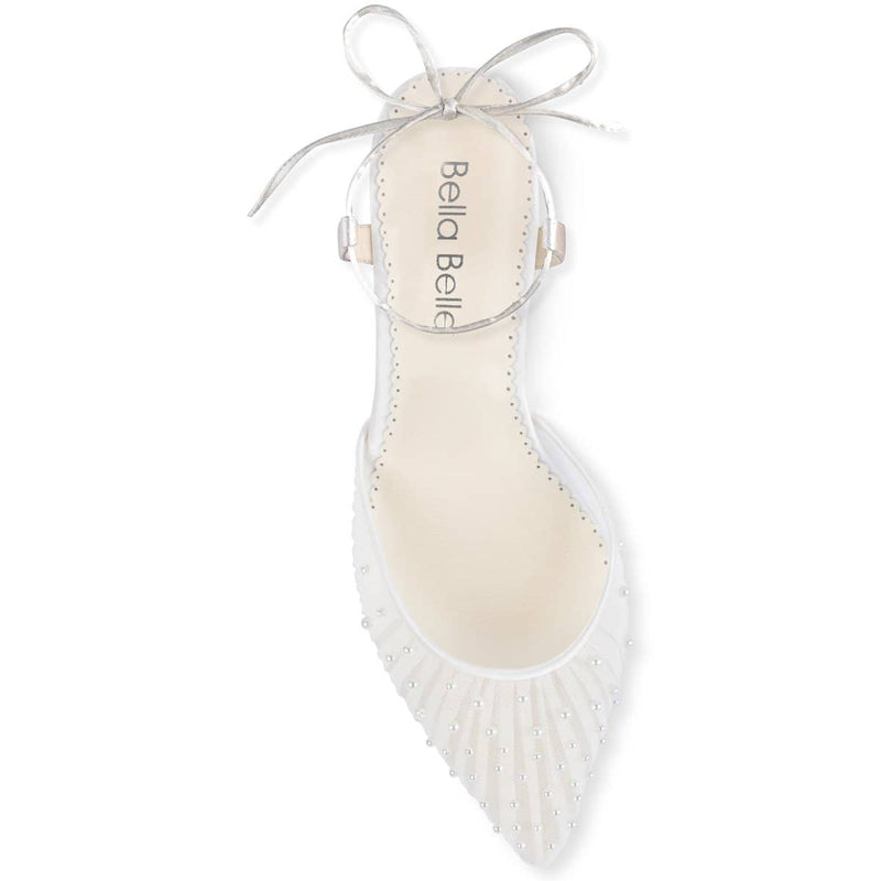 bella belle elena pleated tulle and ivory pearl kitten heels