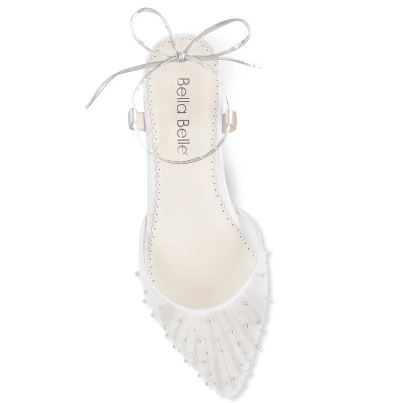 Pleated Tulle and Pearls Ivory Wedding Flats
