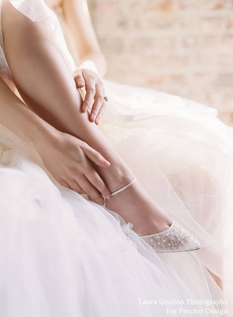 bella belle carina pleated tulle and ivory wedding flats