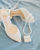 bella belle valentina pleated tulle and pearl wedding shoe