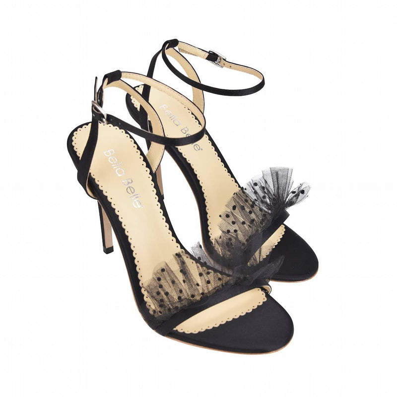 Bella Belle Bridget Polka Dot and Pleated Tulle Black Evening Shoe