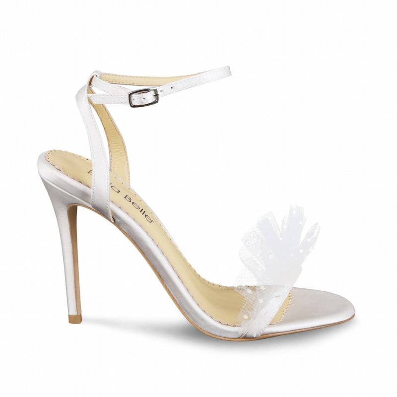 Bella Belle Bridget Polka Dot and Pleated Tulle Ivory Wedding Heel
