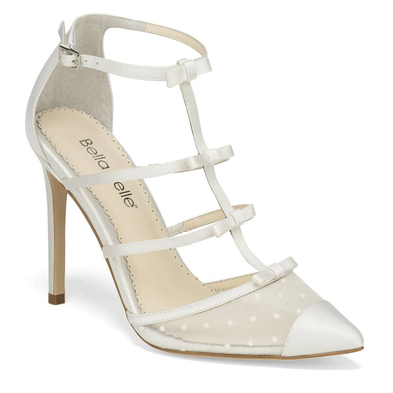 Swiss Dot Cap Toe and Ribbons Wedding Heel Rita Bella Belle