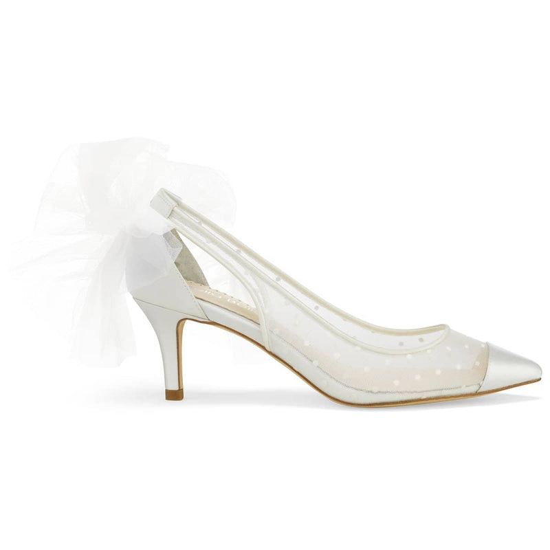 Ivory Swiss Dot Cap Toe Low Heel with Tulle Bow Maggie Bella Belle