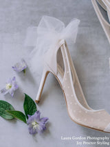Ivory Swiss Dot Cap Toe Pump with Tulle Bow Matilda Bella Belle