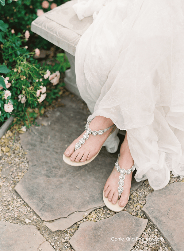 Bella Belle Helia Round Jewel Silver Wedding Sandals