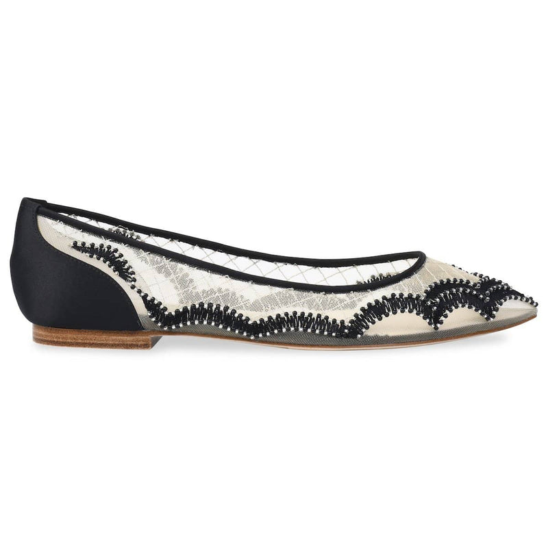 Bella Belle Eva Scalloped Embroidered Black Evening Flats