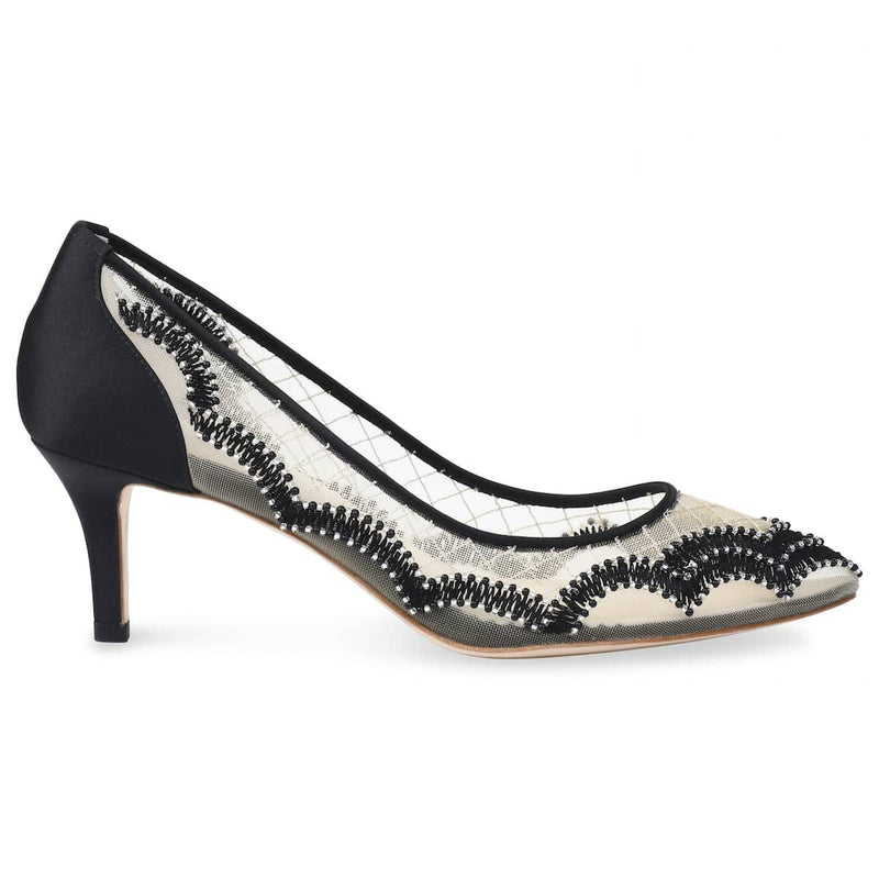 Bella Belle Nicole Scalloped Embroidered Black Evening Kitten Heels