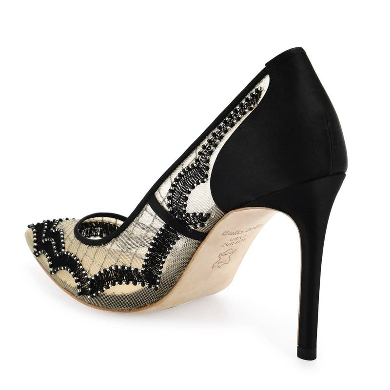 Bella Belle Nadia Scalloped Embroidered Black Evening Pumps