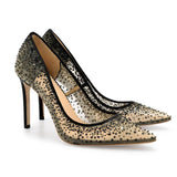 Bella Belle elsa Black Sequin Embellished Evening Heels