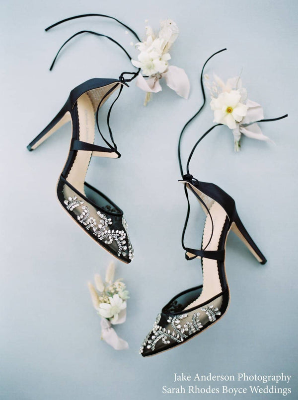 Bella Belle Florence Sexy Embellished Black Evening Shoes