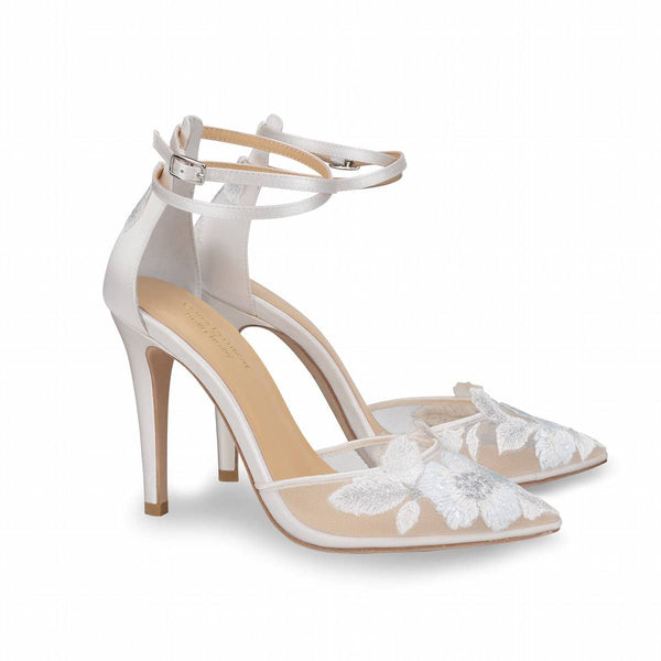 Ivory Wedding Heel with 'Something Blue' Floral Embroidery  - Freya By Claire Pettibone