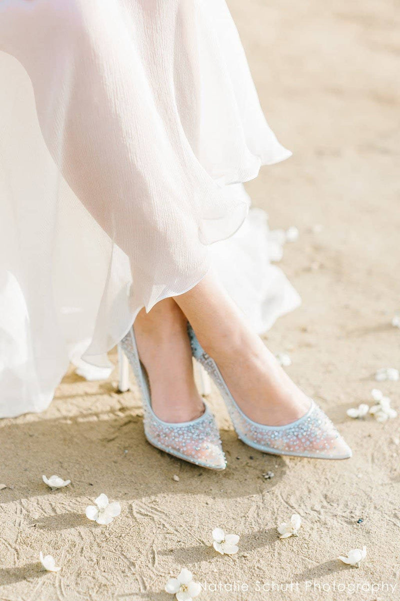 Bella Belle Something Blue Sequin Crystal Wedding Shoes