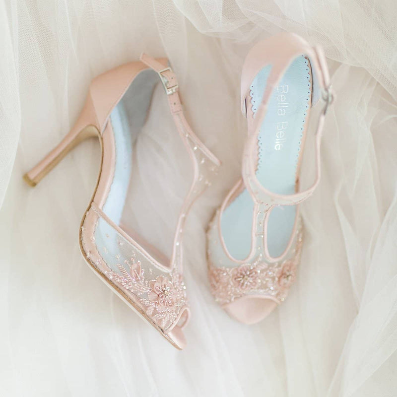 Paloma blush wedding heel editorial